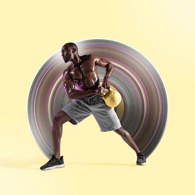 Młody afroamerykański bodybuilder trenuje nad żółtym tłem ilustracji