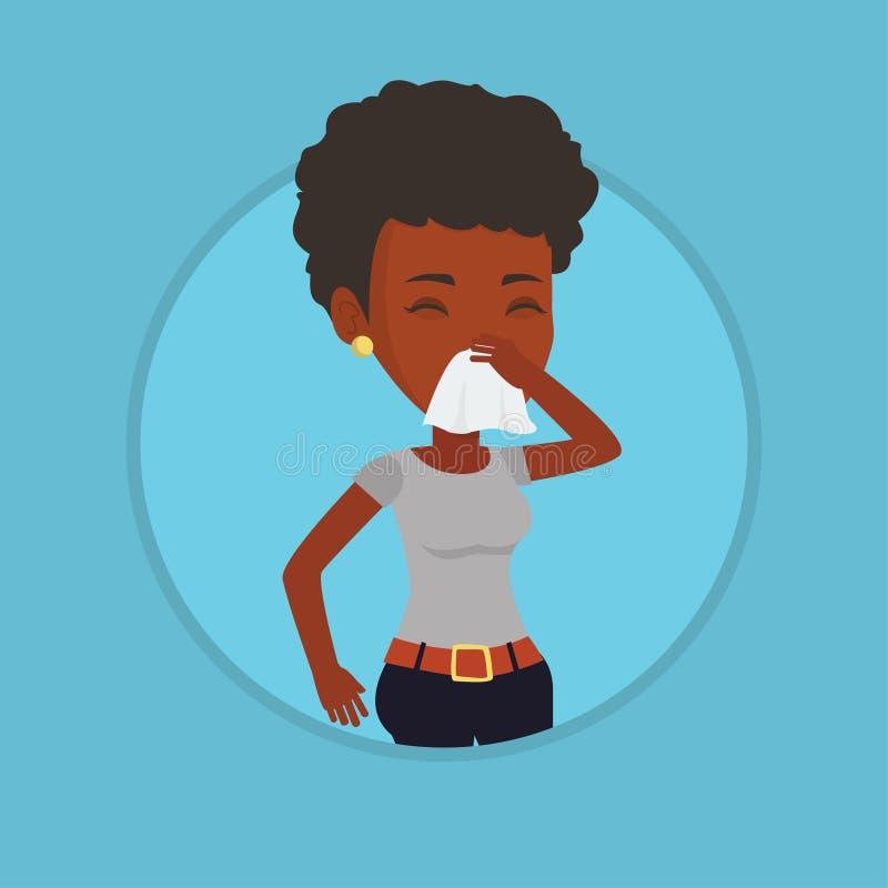 Młody afroamerykański chory kobiety kichnięcie ilustracja wektor