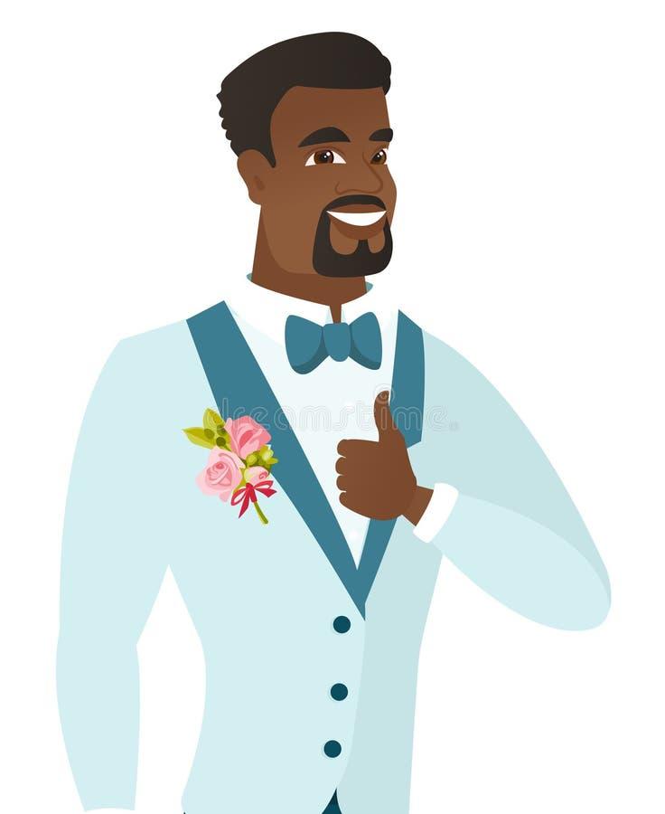 Młody afroamerykański fornal daje kciukowi up royalty ilustracja