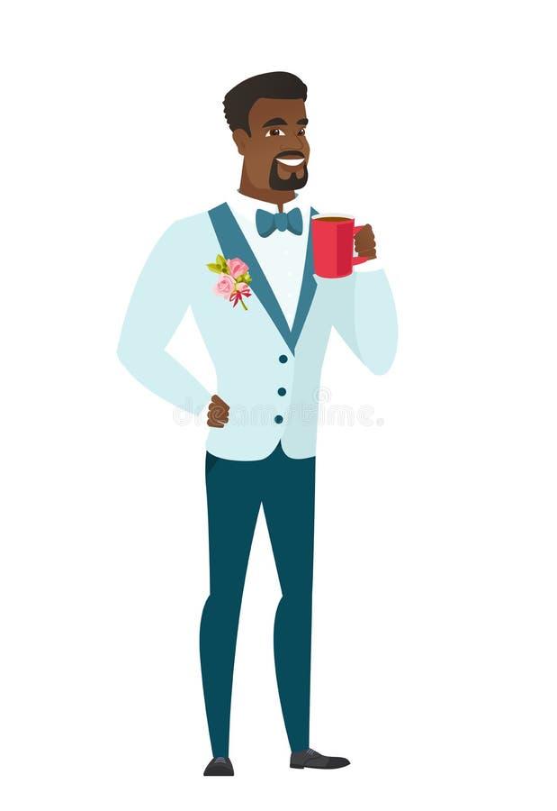 Młody afroamerykański fornal trzyma filiżankę kawy ilustracji