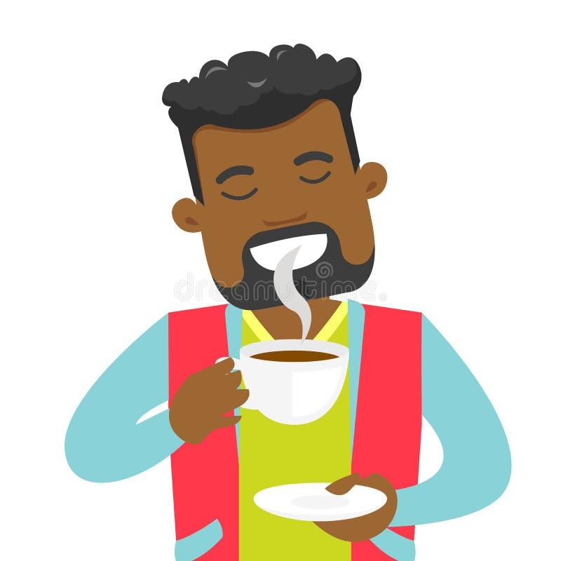 Młody afroamerykański mężczyzna cieszy się filiżankę kawy ilustracji