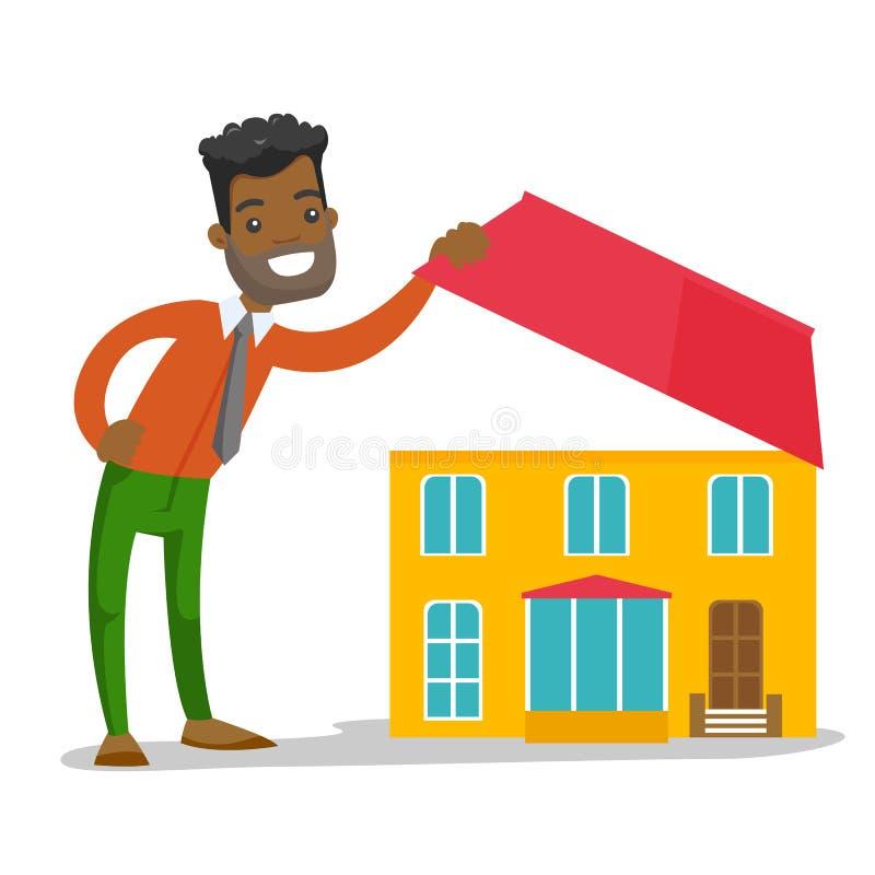 Młody afroamerykański mężczyzna patrzeje dla nowego domu ilustracji