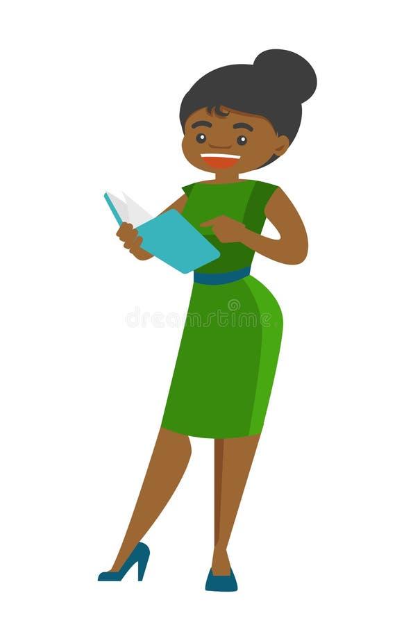 Młody Afroamerykański nauczyciel czyta książkę royalty ilustracja