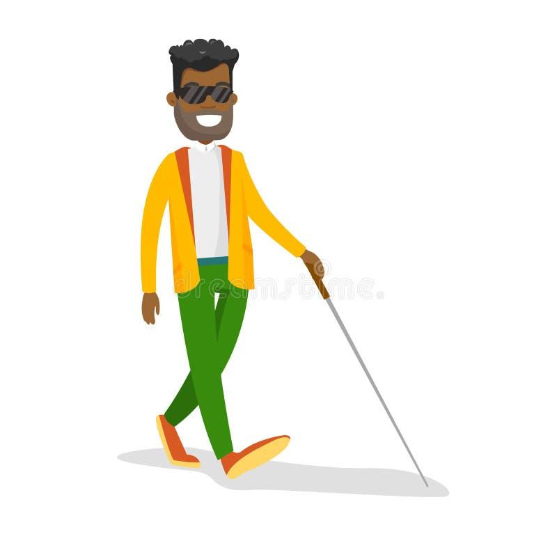 Młody afroamerykański niewidomy mężczyzna z kijem ilustracji