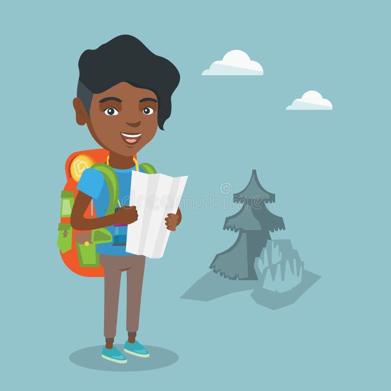 Młody afroamerykański podróżnik patrzeje mapę royalty ilustracja