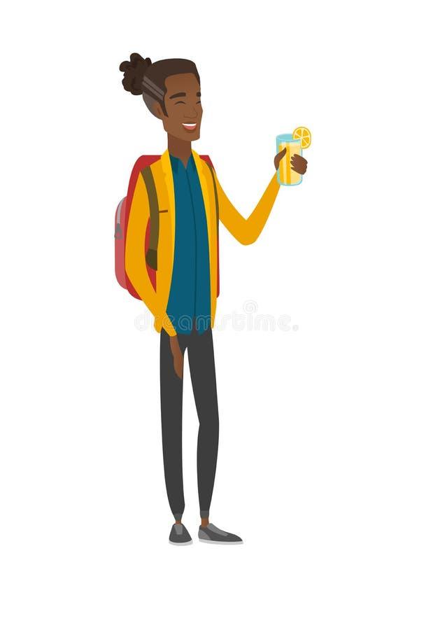 Młody afroamerykański podróżnik pije koktajl ilustracja wektor