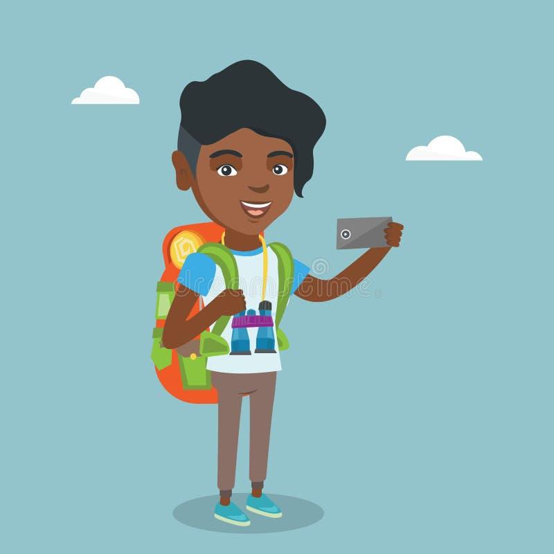 Młody afroamerykański podróżnik robi selfie ilustracja wektor