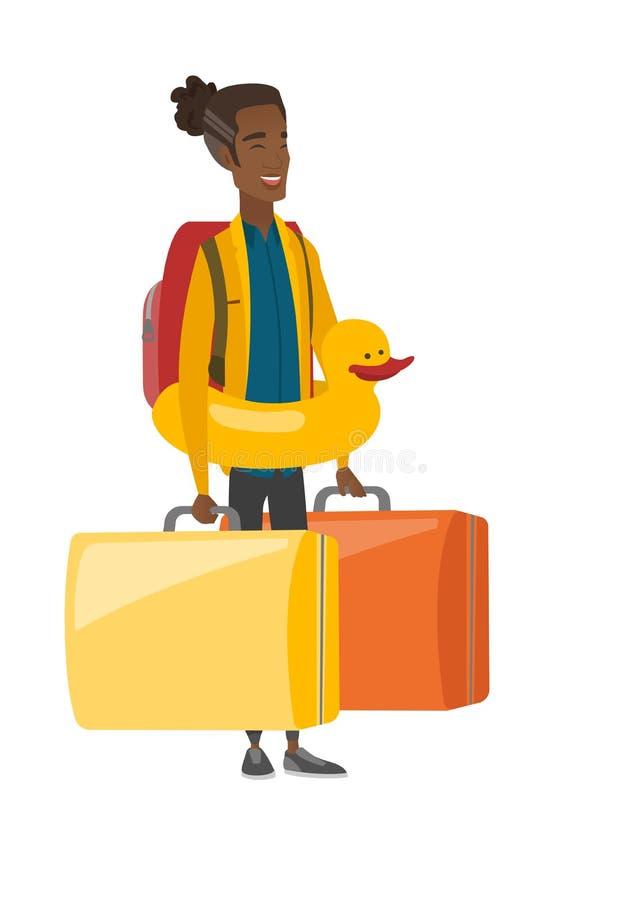 Młody afroamerykański podróżnik w nadmuchiwanym pierścionku ilustracja wektor