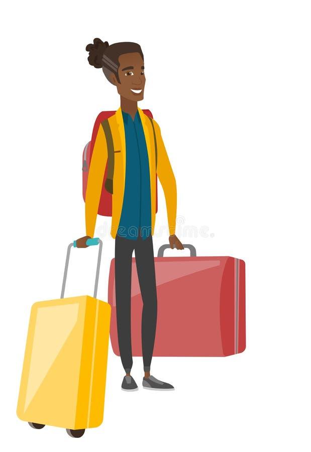 Młody afroamerykański podróżnik z walizkami ilustracji