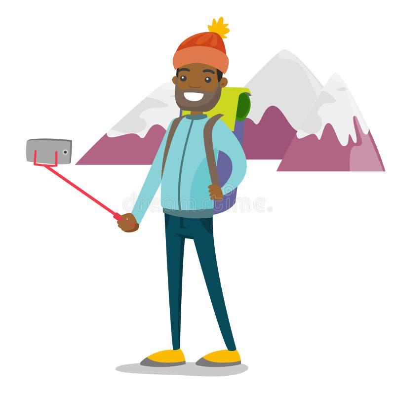 Młody afroamerykański podróżnika mężczyzna robi selfie royalty ilustracja