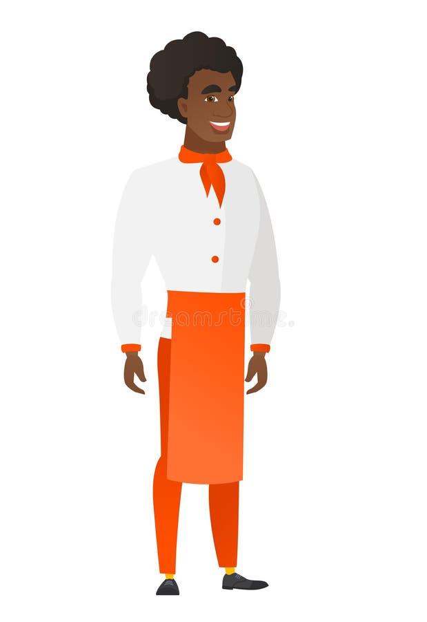 Młody afroamerykański szczęśliwy szefa kuchni kucharz ilustracji