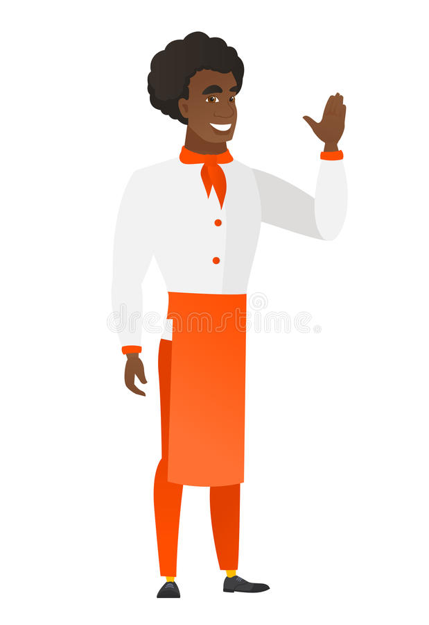 Młody afroamerykański szefa kuchni kucharz macha jego ręka ilustracji