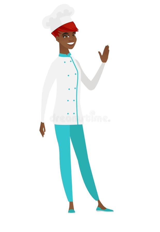 Młody afroamerykański szefa kuchni kucharz macha jej rękę ilustracji