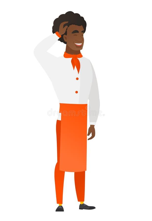 Młody afroamerykański szefa kuchni kucharz w mundurze royalty ilustracja