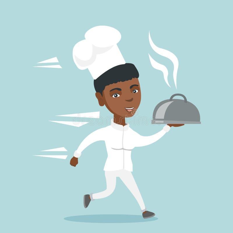 Młody afroamerykański szefa kuchni kucharza bieg z naczyniem ilustracja wektor