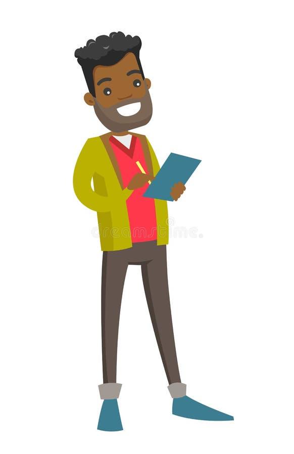 Młody afrykański biznesmen podpisuje biznesowych papiery ilustracji