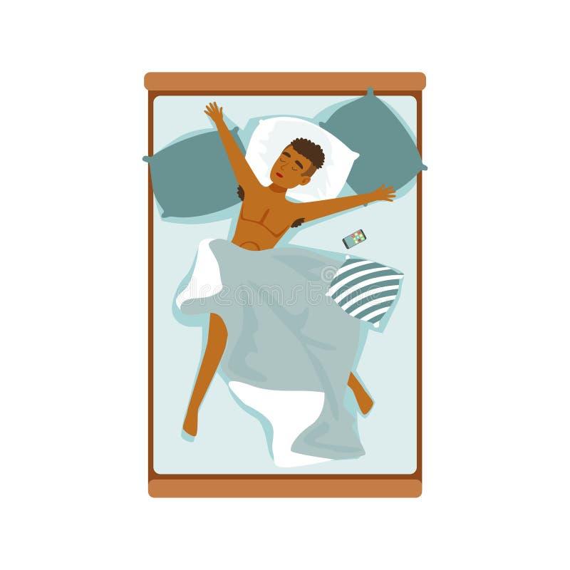 Młody afrykański mężczyzna dosypianie w jego łóżkowej, relaksującej osoba wektoru ilustraci, royalty ilustracja