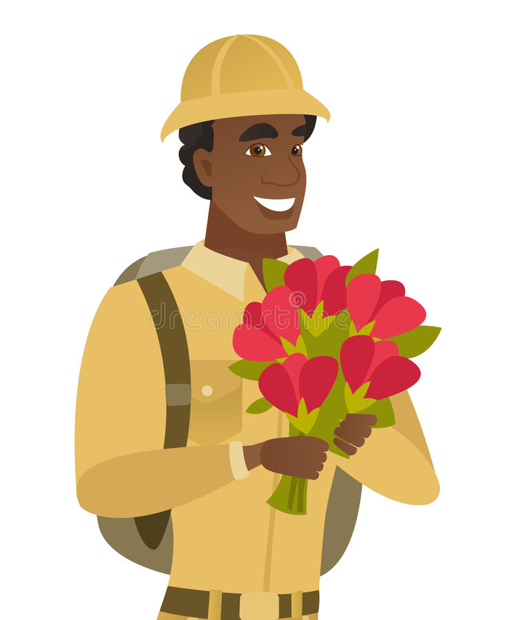 Młody afrykański podróżnika mienia bukiet kwiaty ilustracja wektor