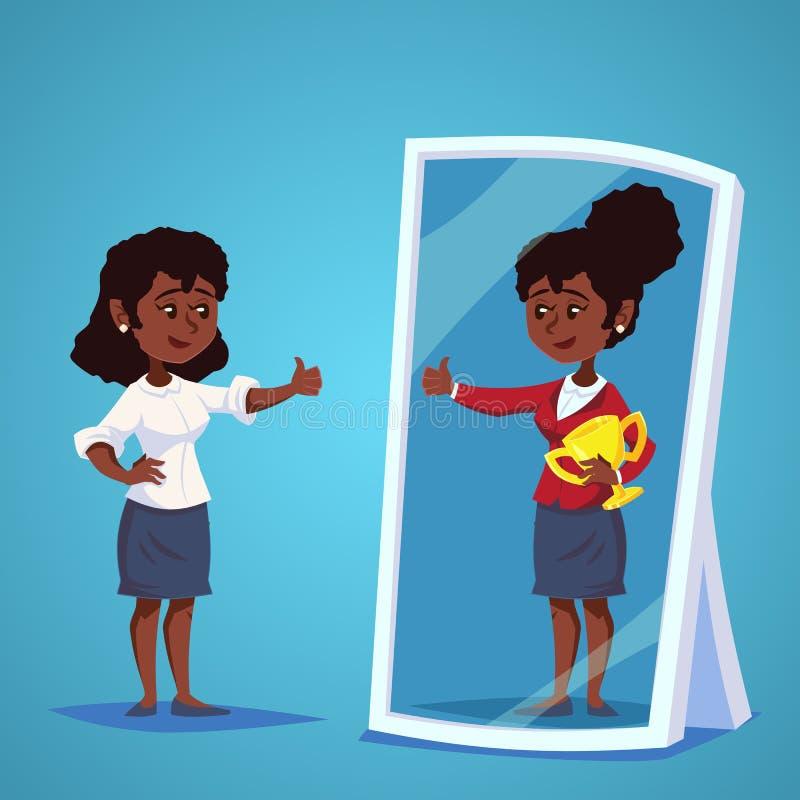 Młody afrykanin, amerykańscy bizneswomany stoi przed lustrem, patrzeje jej odbicie i my wyobrażamy sobie pomyślny Busi royalty ilustracja
