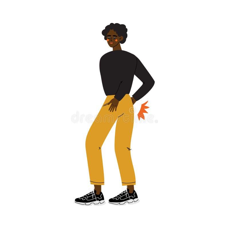 Młody amerykanin afrykańskiego pochodzenia mężczyzny cierpienie od Niskiego ból pleców Powodować choroby lub urazu wektoru ilustr ilustracja wektor