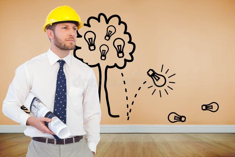 Młody architekt pozuje z ciężkim kapeluszem i planem ilustracji