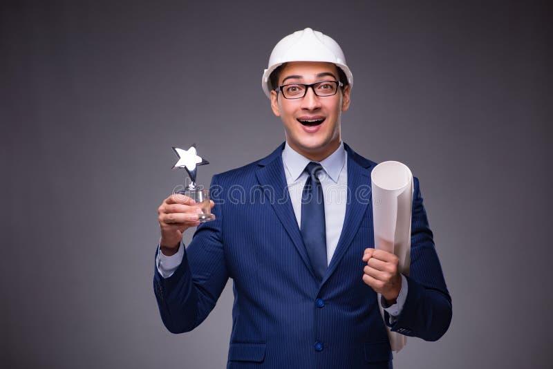 Młody architekt w przemysłowym pojęciu zdjęcia stock
