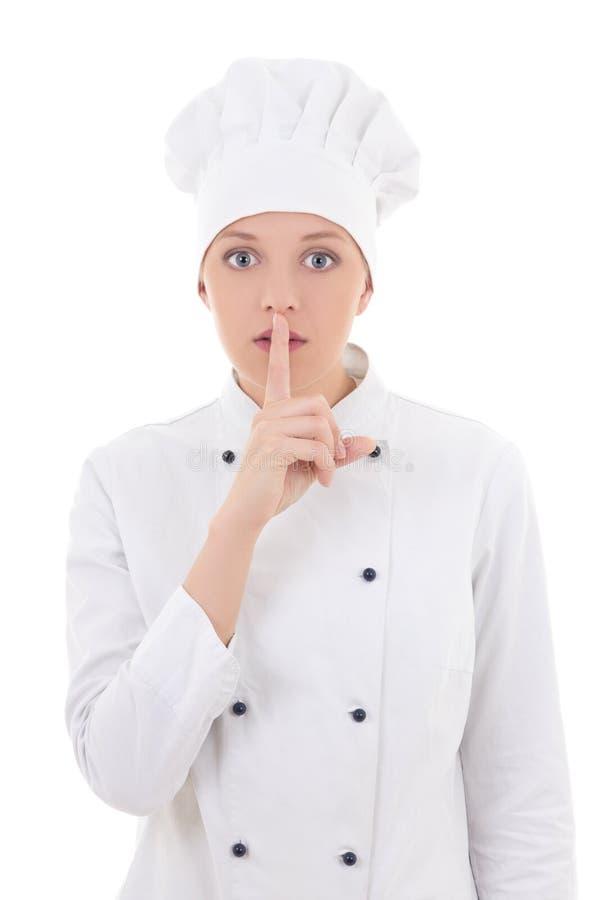 Młody atrakcyjny kobieta szefa kuchni seansu ciszy znak odizolowywający na whi obrazy royalty free