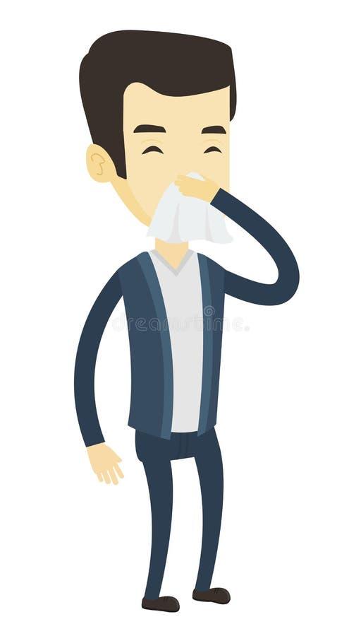 Młody azjatykci chory mężczyzna kichnięcie ilustracji