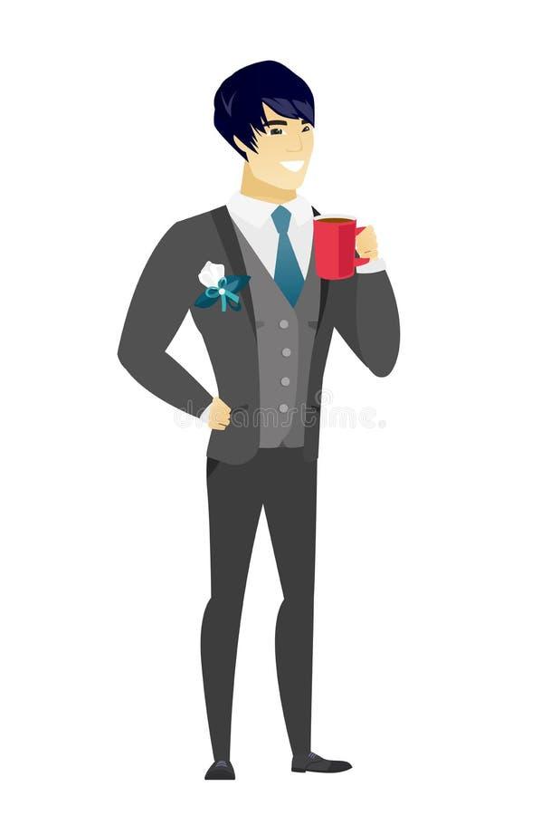 Młody azjatykci fornal trzyma filiżankę kawy ilustracji
