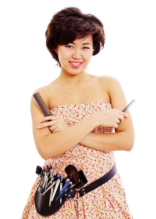 Młody azjatykci fryzjer zdjęcia royalty free