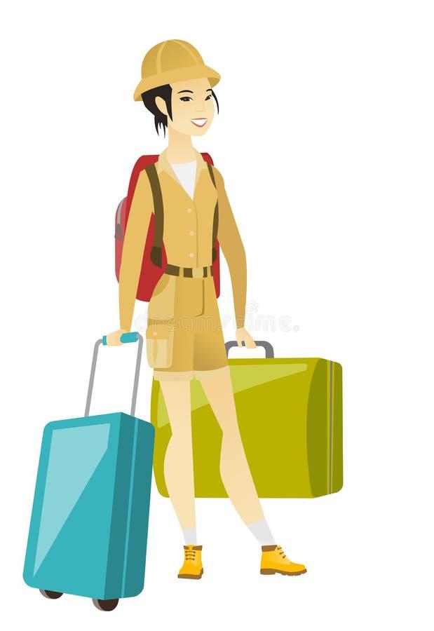 Młody azjatykci kobieta podróżnik z wiele walizkami ilustracji