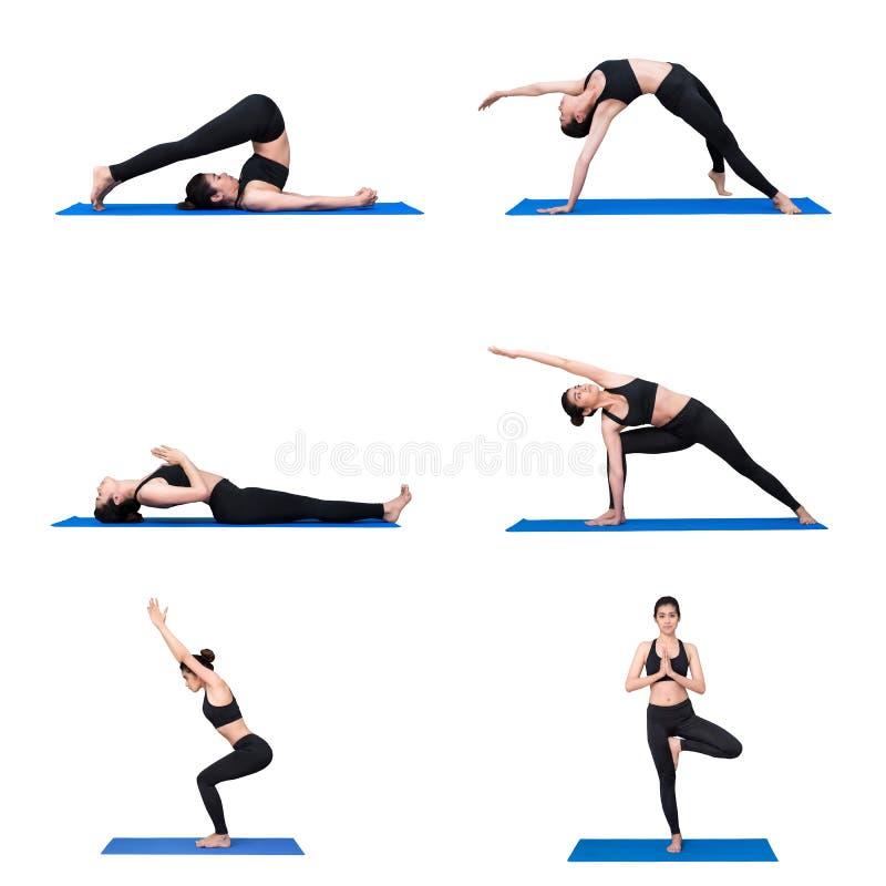Młody azjatykci kobiety praktyki joga pozy ćwiczenie przy joga sporta gym obrazy royalty free