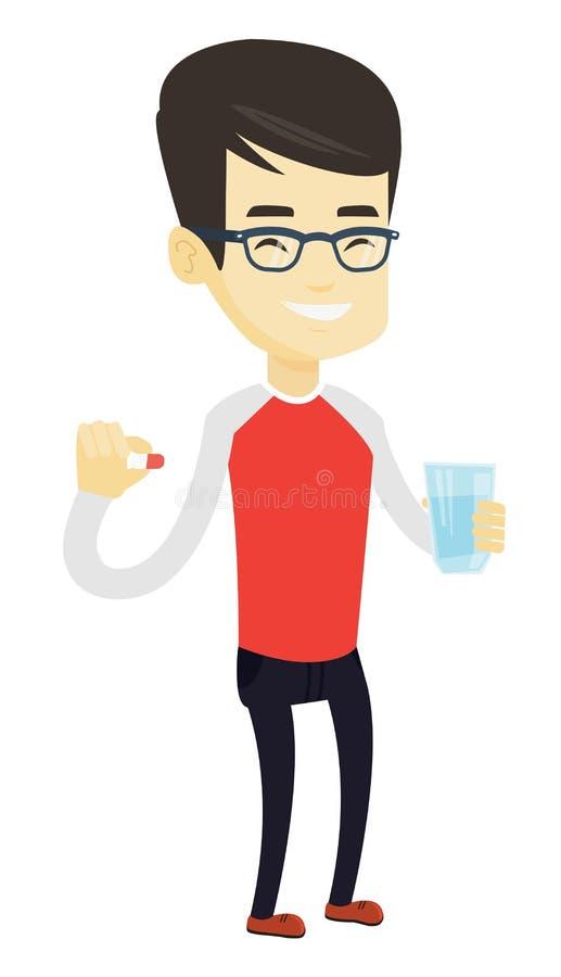 Młody azjatykci mężczyzna bierze pigułki ilustracji