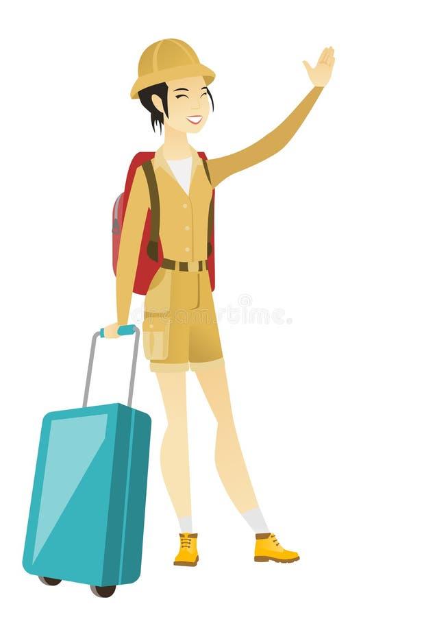 Młody azjatykci podróżnik macha jej rękę royalty ilustracja
