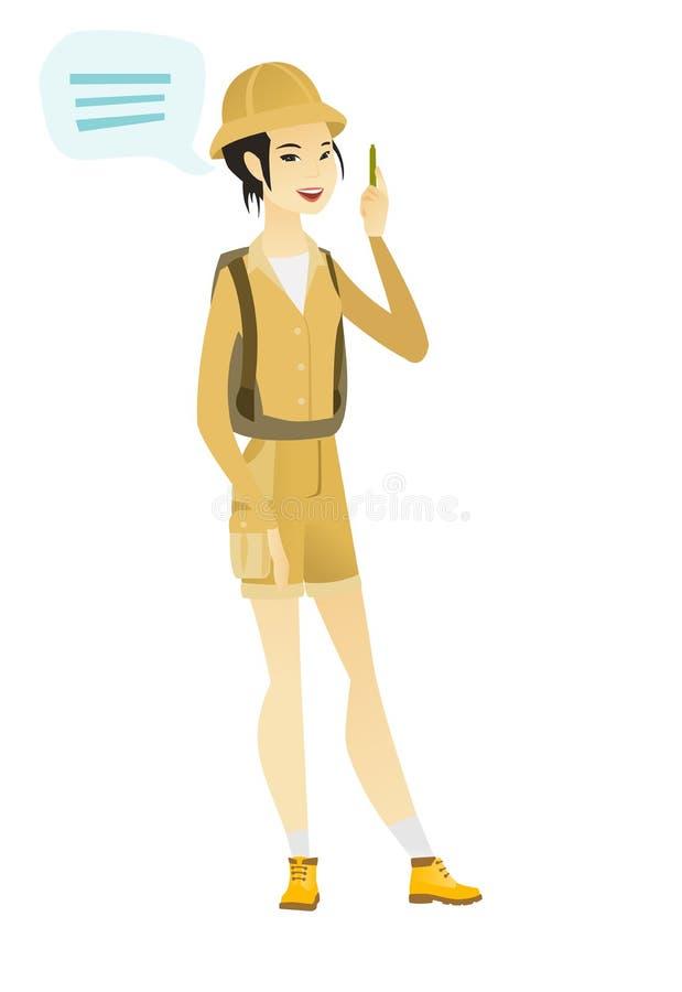 Młody azjatykci podróżnik z mowa bąblem ilustracja wektor