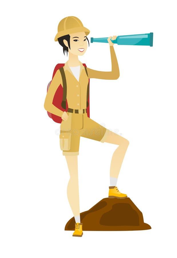Młody azjatykci podróżnik z spyglass ilustracja wektor