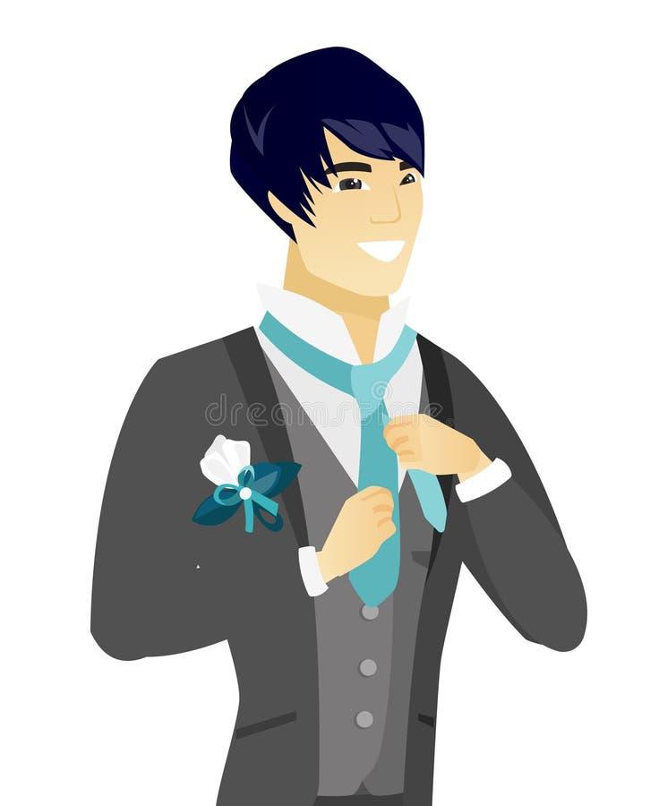 Młody azjatykci rozochocony fornal przystosowywa krawat ilustracji