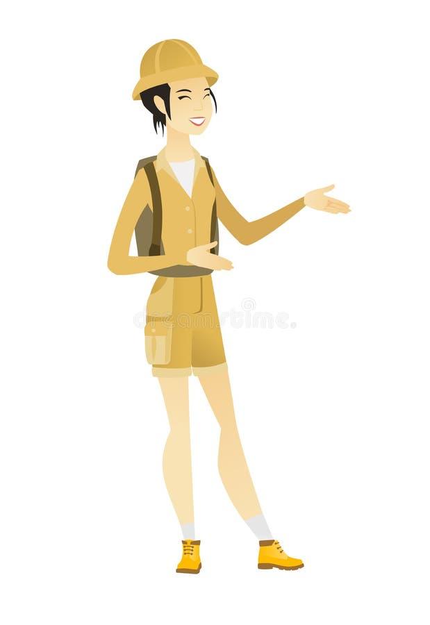 Młody azjatykci szczęśliwy podróżnika gestykulować royalty ilustracja