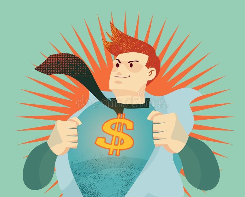 Młody biznesmen drzeje jego koszula daleko z dolara amerykańskiego znakiem royalty ilustracja