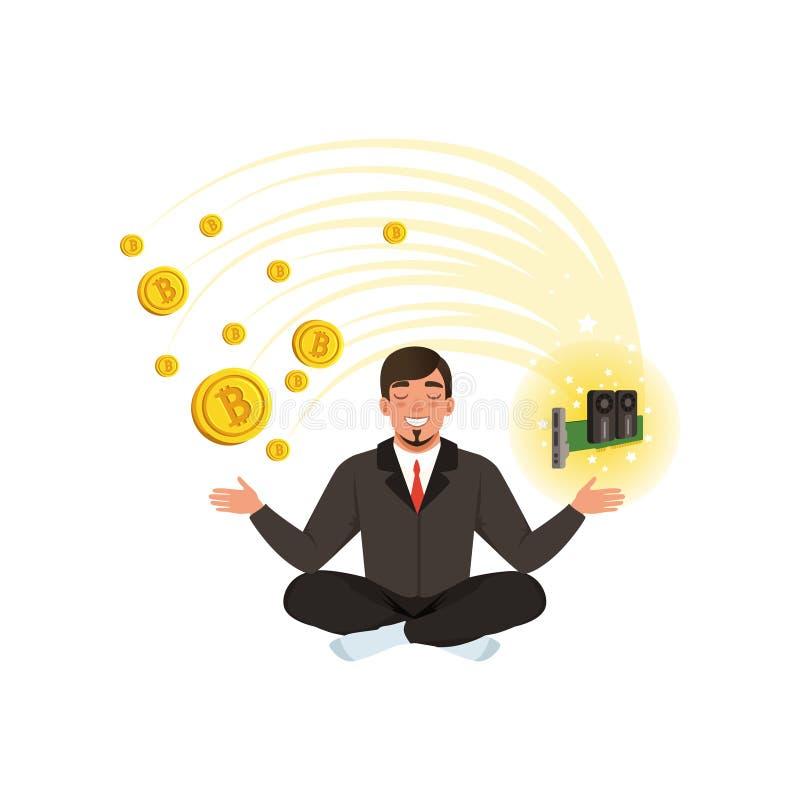 Młody biznesmen medytuje w lotosowej pozyci, bitcoin kopalnictwa gospodarstwo rolne Cyfrowego cryptocurrency i pieniądze temat Kr ilustracja wektor