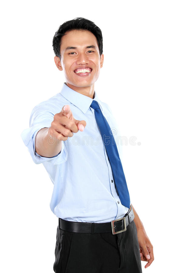 Młody biznesmen wskazuje jego palcowego przy tobą zdjęcie stock