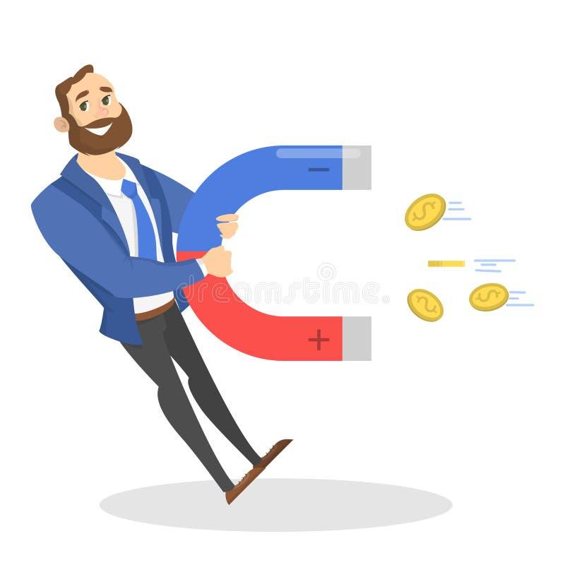 Młody biznesmen z ogromnym magnesem przyciąga pieniądze ilustracji
