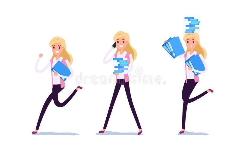 Młody biznesmena charakteru projekt Set biznesowej kobiety działanie w kostiumu pracuje w biurze, Różnych emocjach, pozach i bieg ilustracja wektor