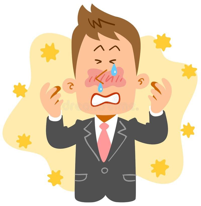 Młody biznesmena cierpienie od siano febry ilustracja wektor