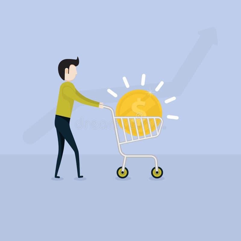 Młody biznesmena i mieszkania supermarket Furmani ikonę z Złotym Coi ilustracji