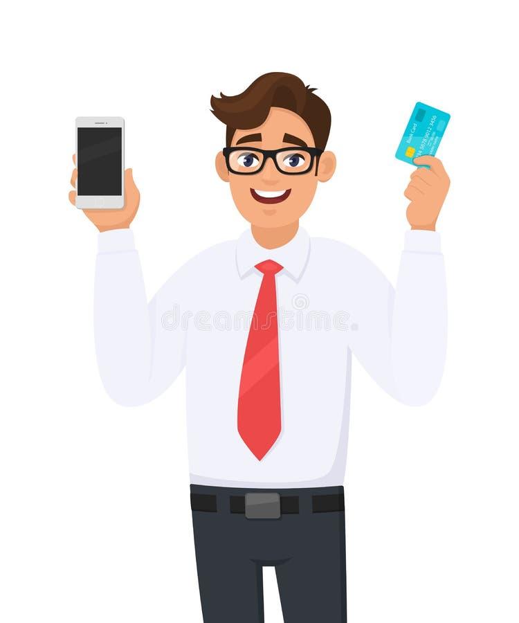 Młody biznesmena seans, mienie lub smartphone wisząca ozdoba, komórka i debet nowi cyfrowi, kredyt, ATM banka karta w ręce royalty ilustracja