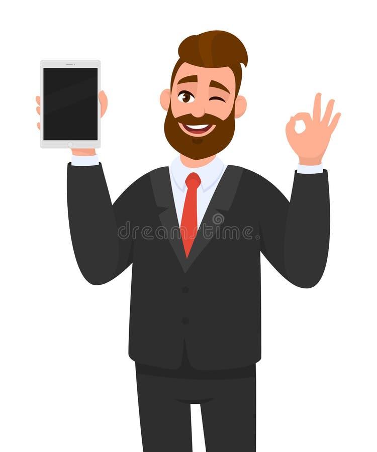 Młody biznesowego mężczyzny seans, trzymać pustego ekran/pastylka komputerowy pokaz i gestykulować robi ok/, ok znak, podczas gdy royalty ilustracja