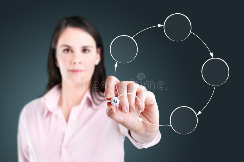 Młody biznesowej kobiety rysunku okręgu diagram. obrazy royalty free