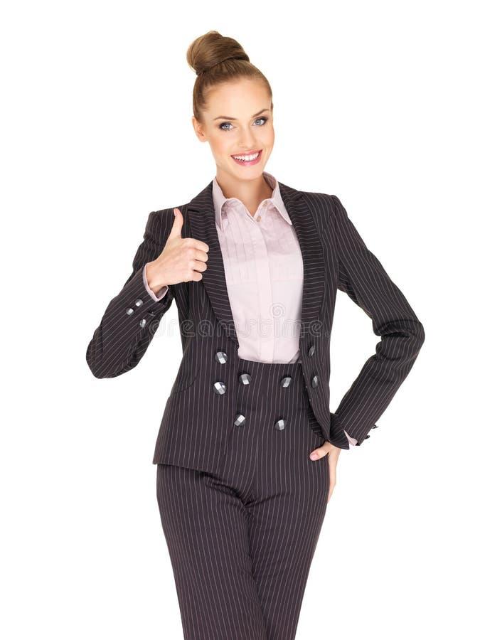 Młody biznesowej kobiety seans kciuk biznesowy zdjęcia royalty free