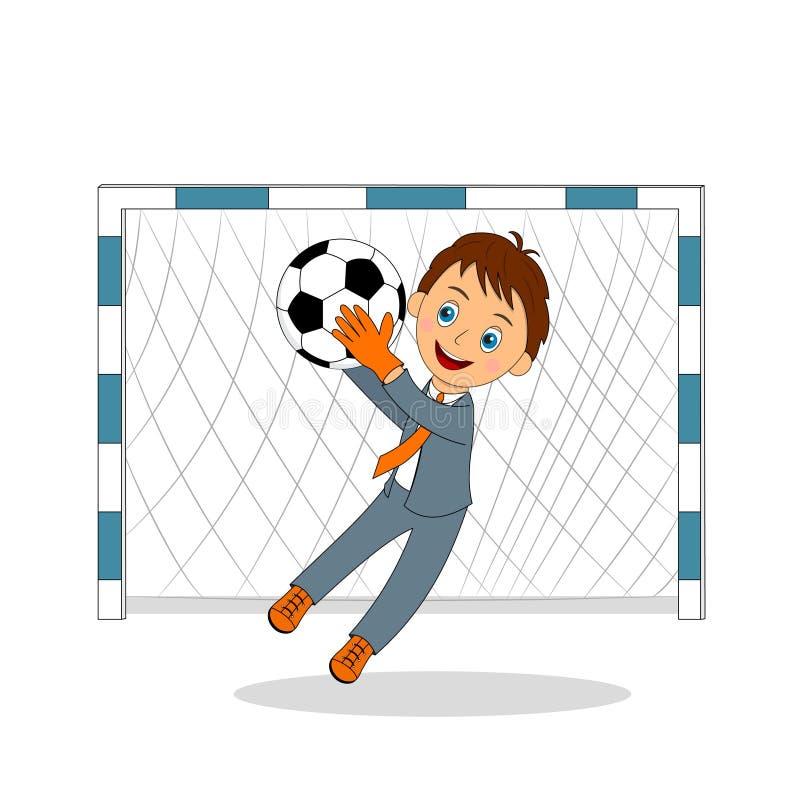 Młody biznesowy bramkarz łapie piłkę royalty ilustracja